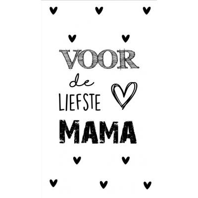 1.Kaartje met tekst ''Voor de liefste mama'' 5 bij 8.5 cm.