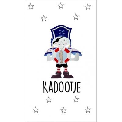 21.Kaartje met tekst ''Kadootje'' 5 bij 8.5 cm.