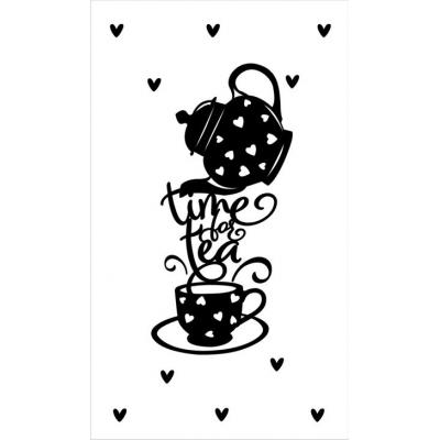 23.Kaartje met tekst ''time for tea'' 5 bij 8.5 cm.