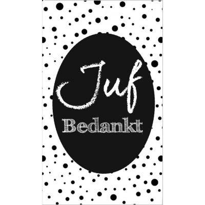 34.Klein bedank kaartje met tekst ''Juf bedankt''zwart 5 bij 8.5 cm.