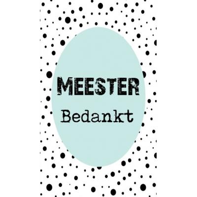 48.Klein bedank kaartje met tekst ''meester bedankt'' 5 bij 8.5 cm.