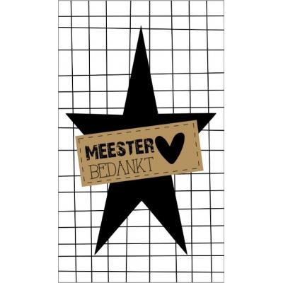 49.Klein bedank kaartje met tekst ''Meester bedankt'' 5 bij 8.5 cm.