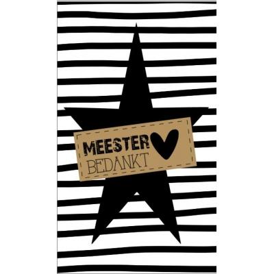 51.Klein bedank kaartje met tekst ''Meester bedankt'' 5 bij 8.5 cm.
