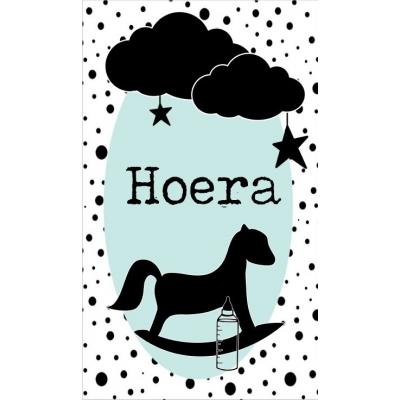 67.Klein bedank kaartje met tekst ''Hoera'' 5 bij 8.5 cm.