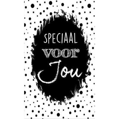 72.Klein bedank kaartje met tekst ''Speciaal voor jou'' 5 bij 8.5 cm.
