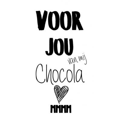 81.Klein bedank kaartje met tekst ''Voor jou van mij chocola mmm'' 5 bij 8.5 cm.
