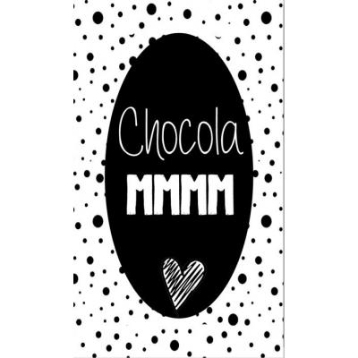 82.Klein bedank kaartje met tekst ''Chocola mmm'' 5 bij 8.5 cm.