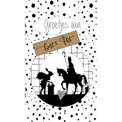 92.Klein bedank kaartje met tekst ''Groetjes van Sint & Piet'' 5 bij 8.5 cm.