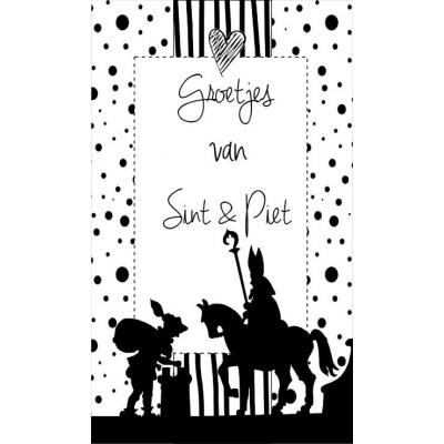93.Klein kaartje met tekst ''Groetjes van Sint & Piet''. 5 bij 8.5 cm.