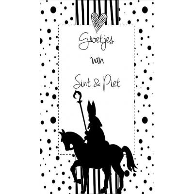95.Klein kaartje met tekst ''Groetjes van Sint & Piet''. 5 bij 8.5 cm.