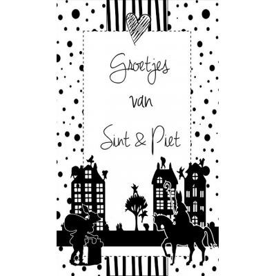 96.Klein kaartje met tekst ''Groetjes van Sint & Piet''. 5 bij 8.5 cm.