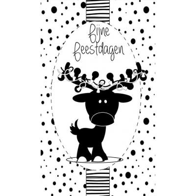 97.Klein bedank kaartje met tekst ''Fijne feestdagen'' 5 bij 8.5 cm.