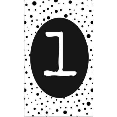 2.klein kaartje met cijfer 1.