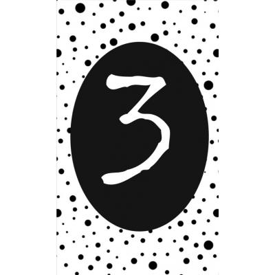 4.klein kaartje met cijfer 3.