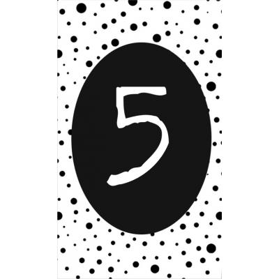 6.klein kaartje met cijfer 5.
