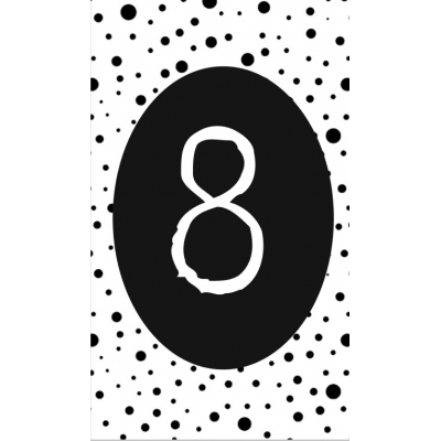 9.klein kaartje met cijfer 8.