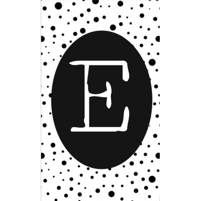 15.klein kaartje met letter E.