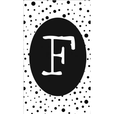 16.klein kaartje met letter F.