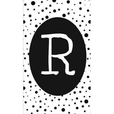 28.klein kaartje met letter R.