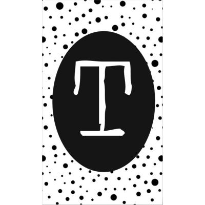 30.klein kaartje met letter T.