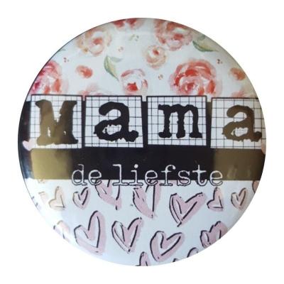 Spiegel met tekst ''Mama de liefste'' 56mm.